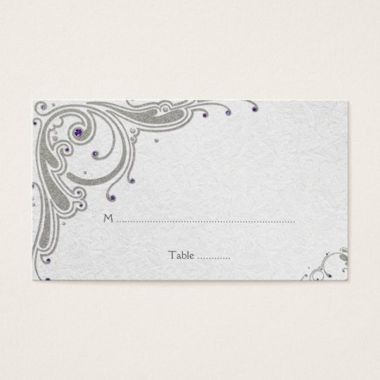 Silver glitter swirls + purple jewel place card