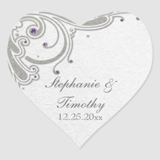 Silver glitter swirls purple jewel wedding sticker