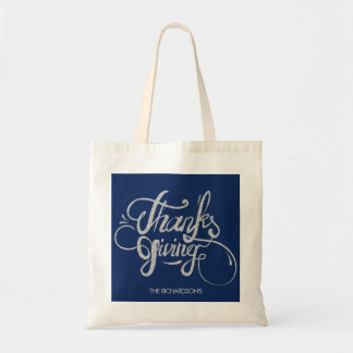 Silver Glitter Text Design- Thanksgiving Tote Bag