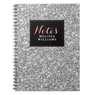 Silver Glitter Texture Black Accents Spiral Notebook