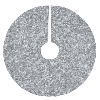 Silver Glitter Texture Print Brushed Polyester Tree Skirt