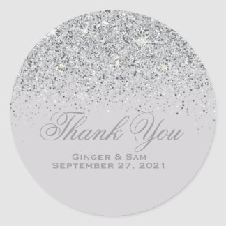Silver Glitter Thank You Stickers