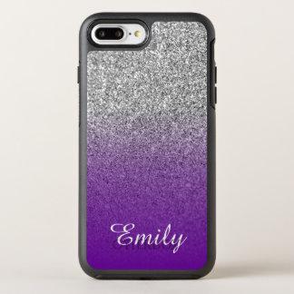 Silver Glitter Violet Purple Ombre Personalized OtterBox Symmetry iPhone 8 Plus/7 Plus Case