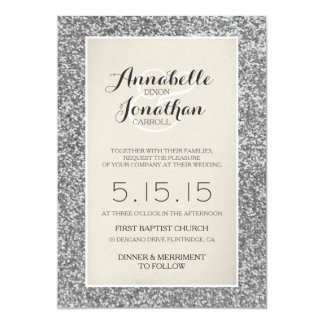 Silver Glitter Wedding Announcement Invitation