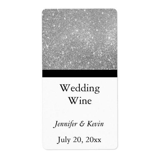 Silver Glitter Wedding Mini Wine Label Shipping Label