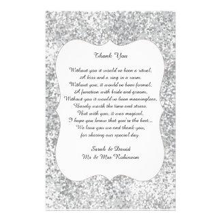 Silver Glitter Wedding Poem Thank You Favor Scroll 14 Cm X 21.5 Cm Flyer
