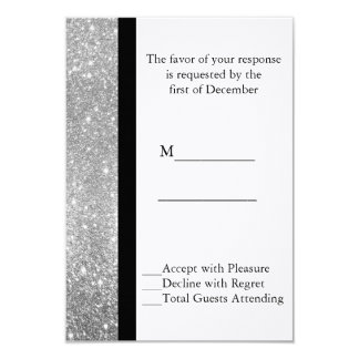 Silver Glitter Wedding RSVP Card