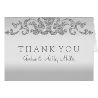 Silver Glitter Wedding Thank You Note Cards