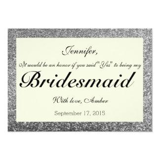 Silver Glitter Will You Be My Bridesmaid Invite