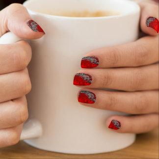 Silver Glitter with Red Floral Print Minx Nail Art