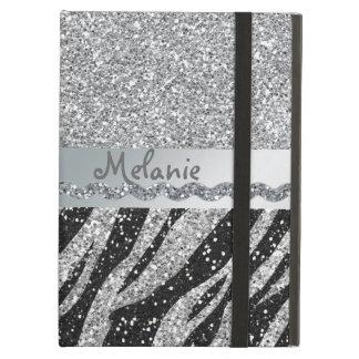 Silver Glitter Zebra Monogram iPad Air Case