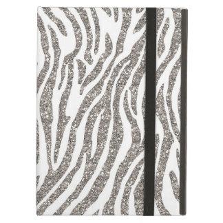Silver Glitter Zebra Print iPad Air Covers