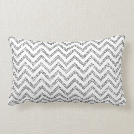 Silver Glitter Zigzag Stripes Chevron Pattern Lumbar Cushion