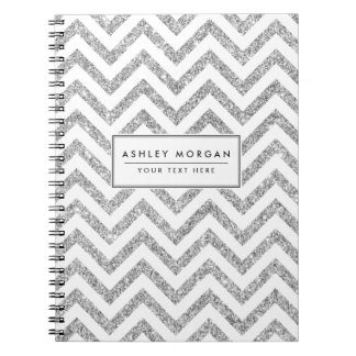Silver Glitter Zigzag Stripes Chevron Pattern Notebooks