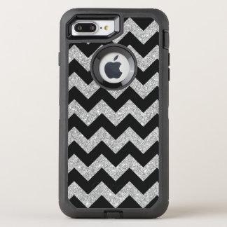 Silver Glitter Zigzag Stripes Chevron Pattern OtterBox Defender iPhone 7 Plus Case