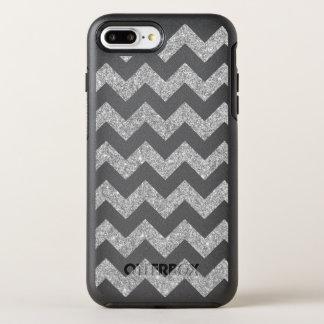 Silver Glitter Zigzag Stripes Chevron Pattern OtterBox Symmetry iPhone 7 Plus Case