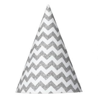 Silver Glitter Zigzag Stripes Chevron Pattern Party Hat