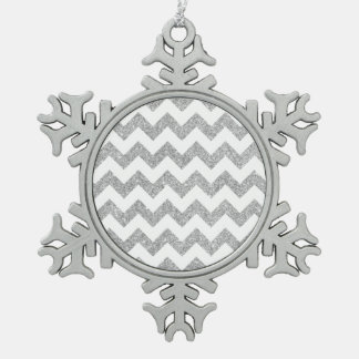 Silver Glitter Zigzag Stripes Chevron Pattern Snowflake Pewter Christmas Ornament