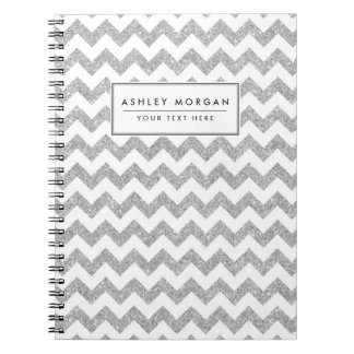 Silver Glitter Zigzag Stripes Chevron Pattern Spiral Note Books
