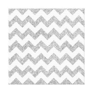 Silver Glitter Zigzag Stripes Chevron Pattern Stretched Canvas Print