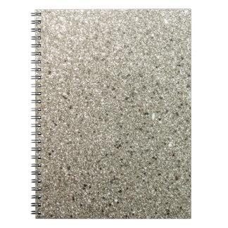 Silver Glittery Paper Spiral Notebook