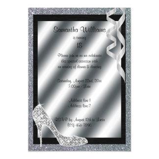 Silver Glittery Stiletto & Streamers 18th Birthday Magnetic Card