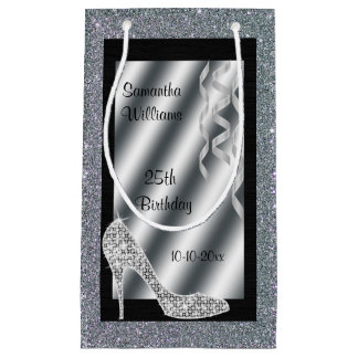 Silver Glittery Stiletto & Streamers 25th Birthday Small Gift Bag