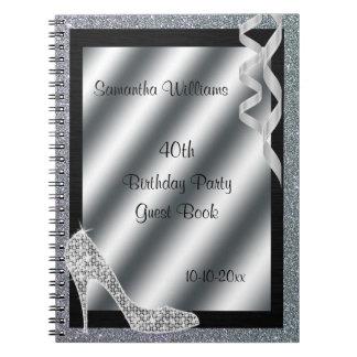 Silver Glittery Stiletto & Streamers 40th Birthday Notebook