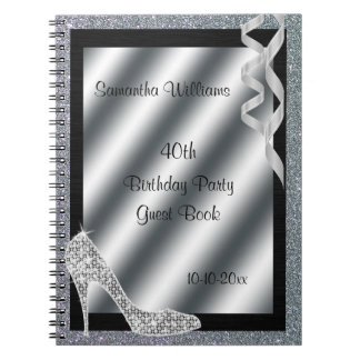 Silver Glittery Stiletto & Streamers 40th Birthday Spiral Notebook