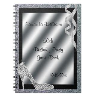 Silver Glittery Stiletto & Streamers 50th Birthday Notebooks