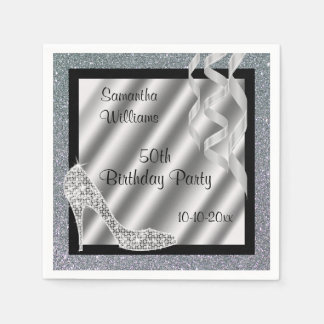 Silver Glittery Stiletto & Streamers 50th Birthday Paper Napkins