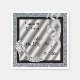 Silver Glittery Stiletto & Streamers 50th Birthday Paper Napkins