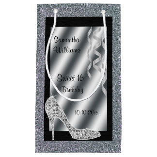 Silver Glittery Stiletto & Streamers Sweet 16 Small Gift Bag