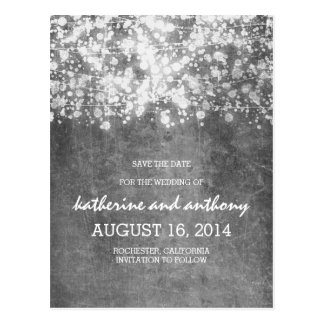 silver glitz string lights vintage save the date postcard
