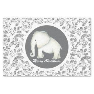 Silver glitz white elephant party tissue tissue paper