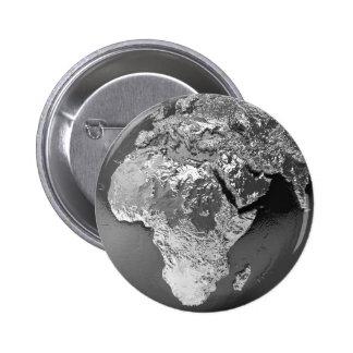 Silver Globe - Africa, 3d Render 6 Cm Round Badge
