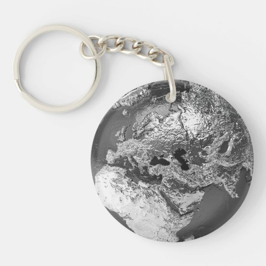 Silver Globe - Europe, 3d Render Key Ring