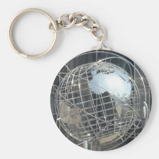 silver globe key ring