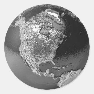 Silver Globe - North America, 3d Render Round Sticker