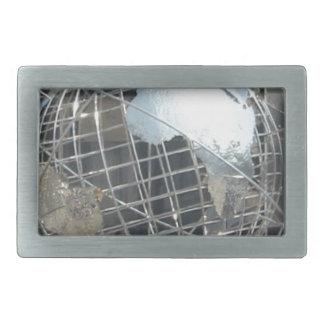 silver globe rectangular belt buckle