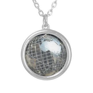silver globe round pendant necklace