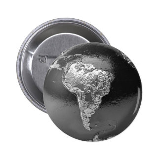Silver Globe - South America, 3d Render 6 Cm Round Badge
