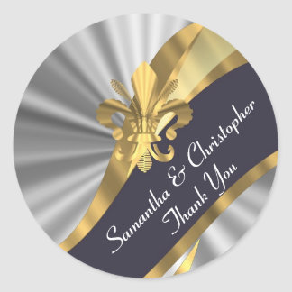 Silver, gold and black wedding seal round sticker