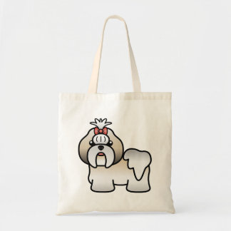 Silver Gold And White Cartoon Shih Tzu Canvas Bags
