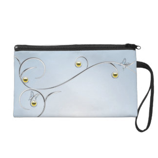 Silver/Gold Branches with Butterflies Blue Bagette Wristlet