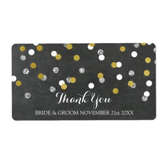 Silver Gold Chalkboard Confetti Wedding Labels