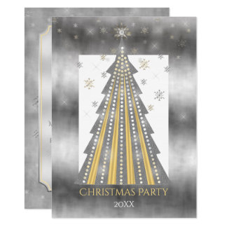 Silver Gold Christmas Tree | Snowflakes Party Card