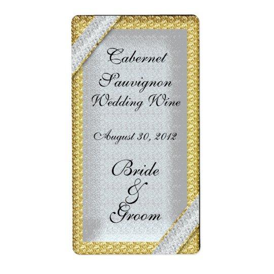 Silver Gold & Diamonds Wedding Wine Label