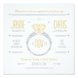 Silver & Gold Engagement Ring Party Invitation