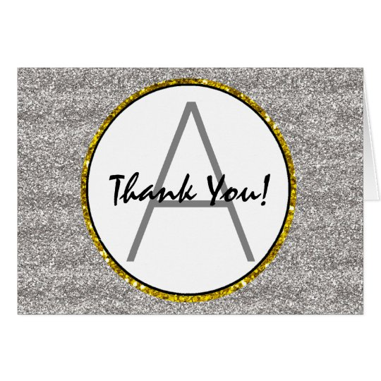 Silver & Gold Faux Glitter Monogrammed Thank You Card